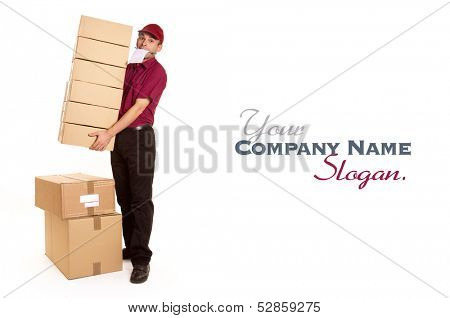 Isolated image of a messenger in red delivering a lot of boxes with a block and pen in his mouth