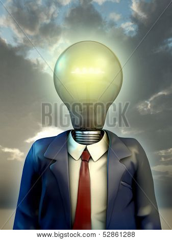 Businessman with his head replaced by a big light bulb. Digital illustration.