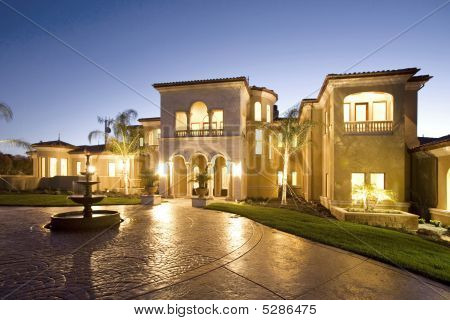 Luxury Home At Dusk