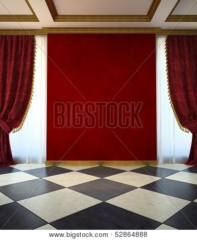 Red Unfurnished Room In Classic Style