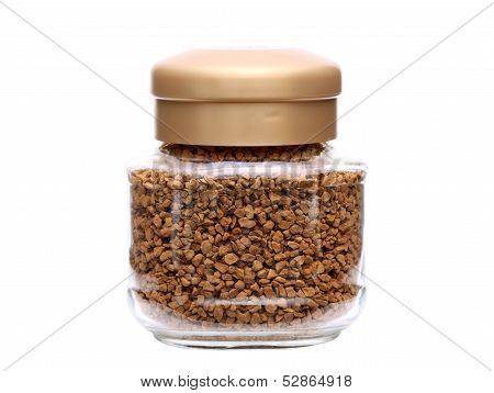 instant coffee in glass jar
