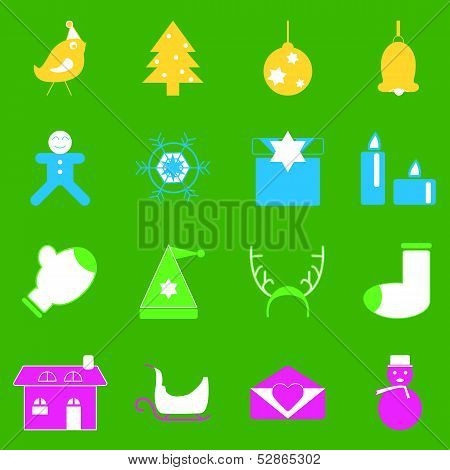 Christmas Colorful Icons On Green Background
