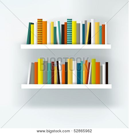 Book shelf interior. Modern furniture design isolated on white. Vector illustration.  Art backgroun