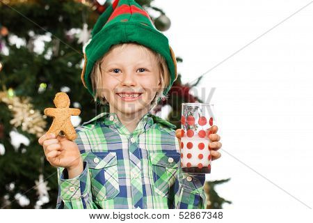 Elf Boy Holding Gingerbread Man And Milk