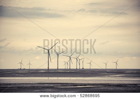 Wind Power At The Mud Flat Near Sea Shore