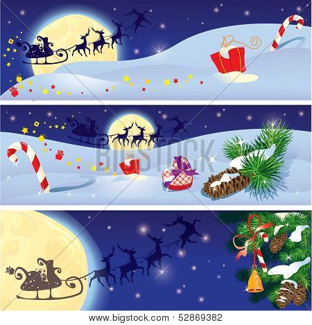 Set Of Christmas And New Year Horizontal Banners With Flying Reindeers On Sky Background With Fir Tr
