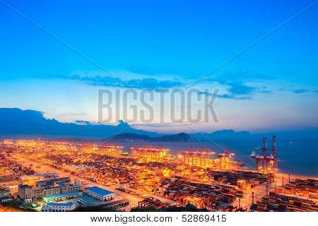 Container Terminal In Nightfall