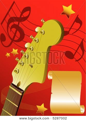 Guitar On A Red Background