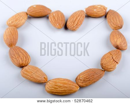 Heartshaped raw almonds