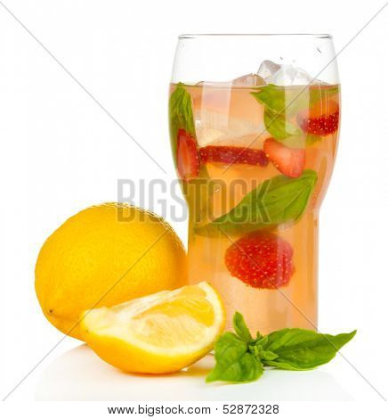 Basil lemonade with strawberry in glass, isolated on white