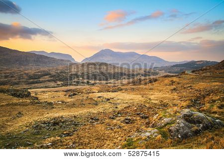 Killarney mountains at sunset in Ireland