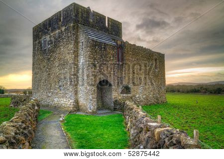 Stone architecture of Kilmacduagh monastery in Ireland