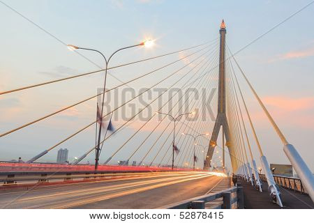 Twilight  At Rama Viii Bridge Bangkok