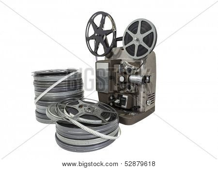 Vintage movie film reels and projector isolated with clipping path.