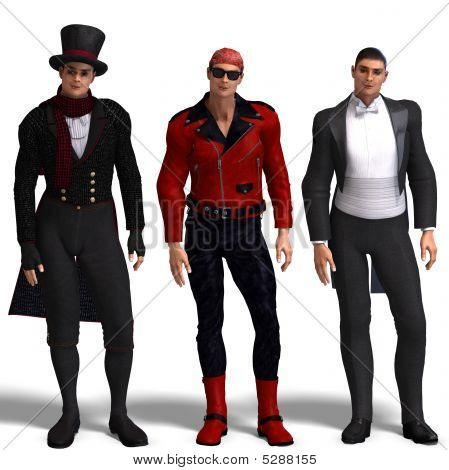 Three Different Outfits: Dandy, Biker, Formal Dress