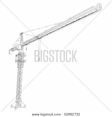 Wire frame tower crane