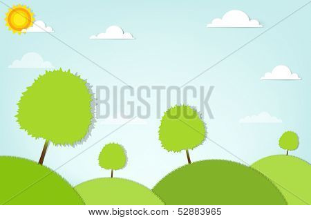 summer stylized landscape with trees