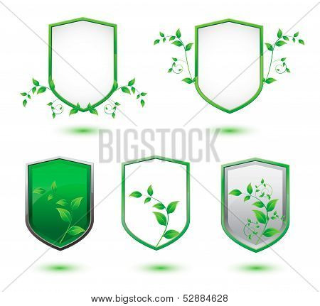 insulated shield banner with green leaves