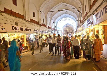 People Shop Inside The  Meena Bazaar In The Red Fort