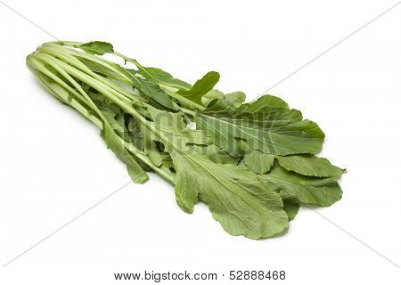 Fresh japanese Mizuna on white background