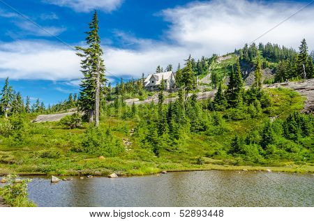 Beautiful Mountain lake at the Bagley Lake Trail Park. Mount Baker, Washington, USA.