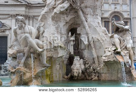 Sculpture At Trevi Fountain Straight On