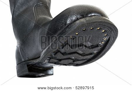 Russian Black Army Boots Isolated On White Background