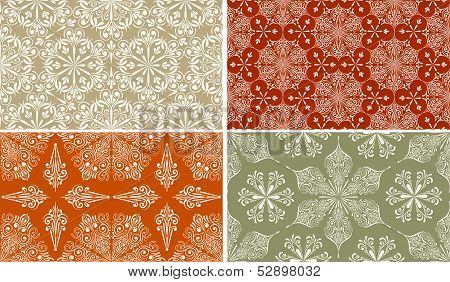 4 Vector Seamless Winter Patterns With  Snowflakes