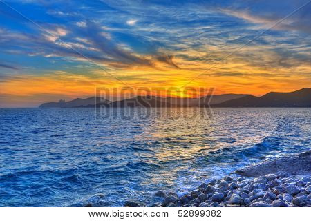 Ibiza Cap des Falco beach sunset and Es Vedra in Sant Josep Balearic Islands
