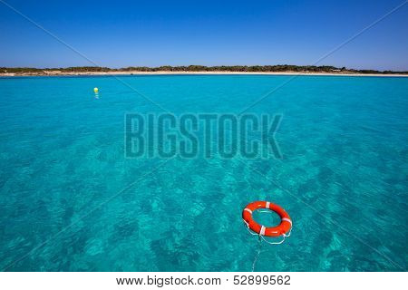 Formentera Illetes Illetas with round buoy view from sea at Balearic Islands