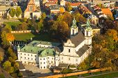 Aerial view of the Church of St. Stanislaus Bishop in Krakow, Poland.