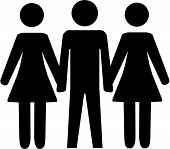 pic of kinky  - Vector illustration of one man and two women - JPG