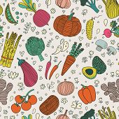 image of champignons  - Bright tasty seamless pattern with green peas - JPG