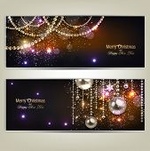 Set of Elegant Christmas banners with golden garland. Vector illustration