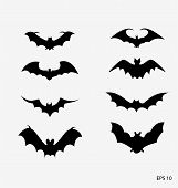 stock photo of bat wings  - vector file of bat icons in halloween - JPG