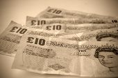 stock photo of british pound sterling note  - Old - JPG