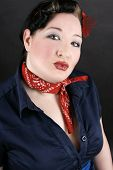 stock photo of rockabilly  - Portrait of a lovely girl dressed in Rockabilly fashion - JPG