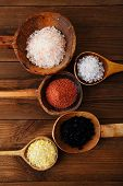 stock photo of salt-bowl  - Himalayan Pink Crystal Rock salt Hawaiian Red Alaea Sea Salt Hawaiian Black lava sea salt Persian Blue Iranian Lemon Salt - JPG