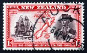 Postage Stamp New Zealand 1940 Captain Cook, Map Of New Zealand