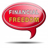 stock photo of debt free  - financial freedom and economic independence self sufficient and debt free sign - JPG
