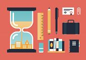 pic of pass-time  - Flat design vector illustration icons set of business experience oldschool education objects and time passing knowledge concept - JPG