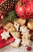 stock photo of christmas spices  - Homemade christmas gingerbread cookies and christmas decoration - JPG