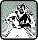 foto of sandblasting  - Illustration of a sandblaster worker holding sandblasting hose wearing helmet visor set inside square shape done in retro woodcut style - JPG