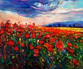 stock photo of canvas  - Original oil painting of Opium poppy - JPG