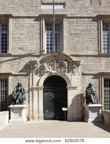 MONTPELLIER, FRANCE - AUGUST 14: University of Medicine and Cathedral St Pierre on august 14, 2013 in Montpellier