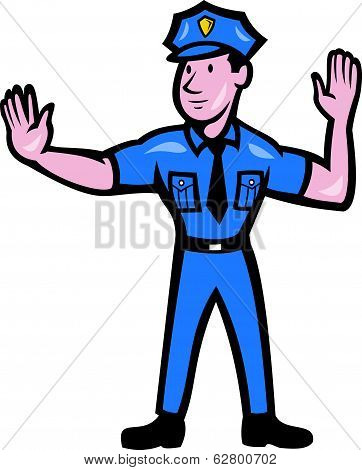 Traffic Policeman Stop Hand Signal Cartoon