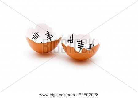 Broken Egg Shell On White Background
