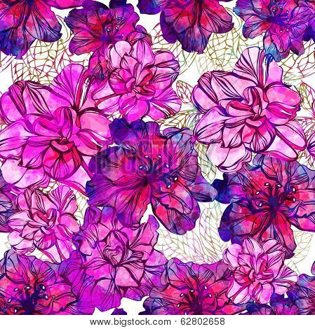 Seamless abstract flowers pattern. Vector, EPS10