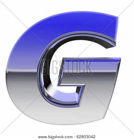 Chrome Alphabet Symbol Letter G With Color Gradient Reflections Isolated On White