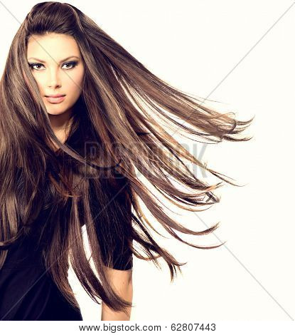 Fashion Model Girl Portrait with Long Blowing Hair. Sexy Glamour Beautiful Woman with Healthy and Be poster